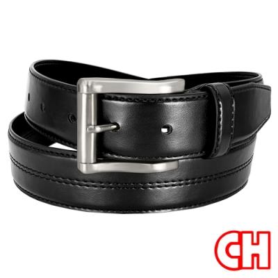 CH-BELT設計車線風格休閒正式中性皮帶腰帶(黑)
