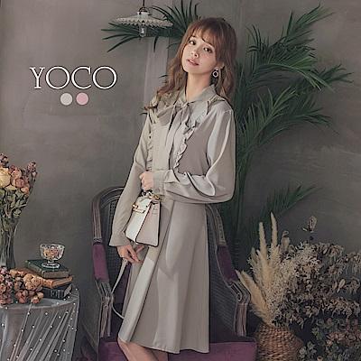 東京著衣-yoco 甜氛少女荷葉邊綁帶雪紡長袖洋裝-S.M.L(共二色)