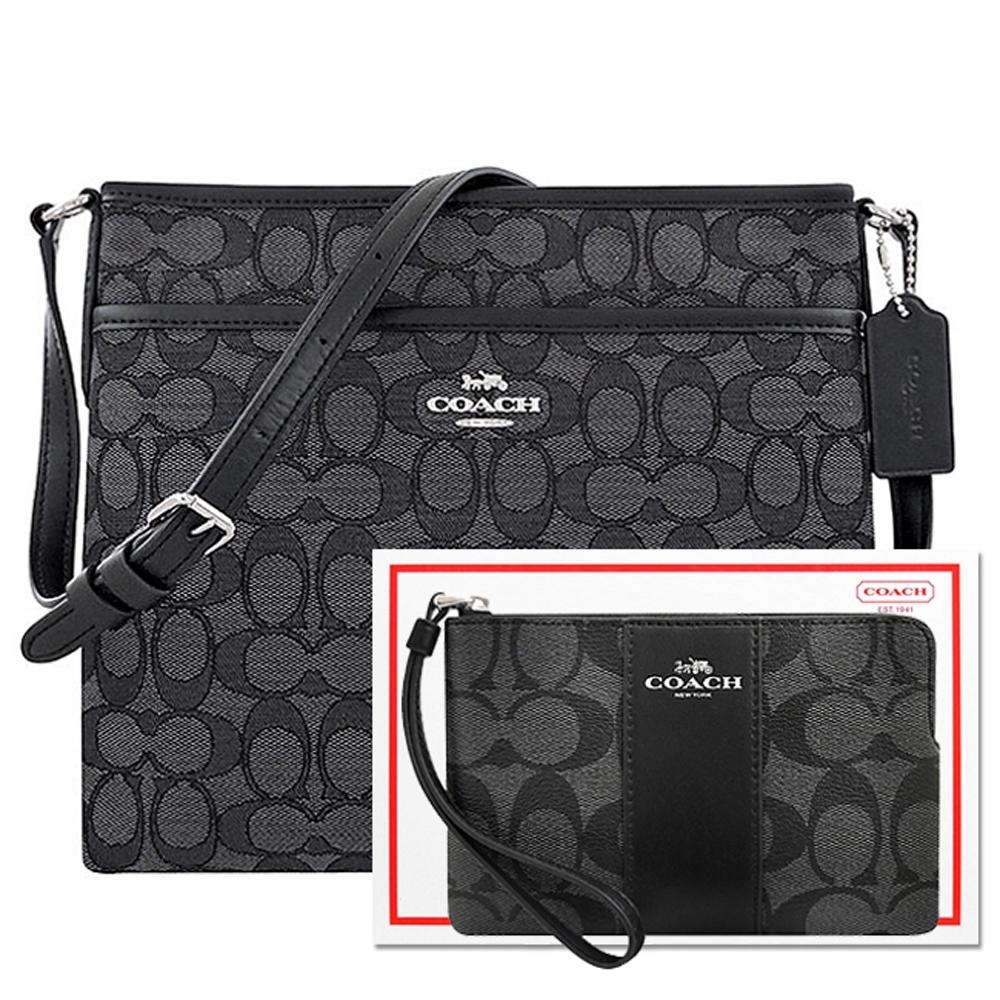 COACH 黑色大C織紋斜背包+黑色大C PVC手拿包