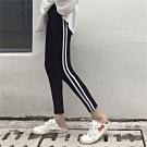 La Belleza鬆緊腰圍側邊雙槓條紋拼接棉質九分內搭褲