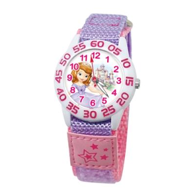 DISNEY迪士尼 自黏休閒織帶手錶小公主蘇菲亞33mm粉紫色