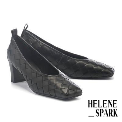 高跟鞋 HELENE SPARK 簡約量感編織造型羊皮方頭高跟鞋-黑
