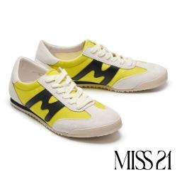 休閒鞋 MISS 21 復古色塊拼接綁帶厚底休閒鞋-黃