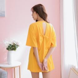 SUPER COLOR 性感美背扭結鏤空設計棉質短袖上衣-黃色