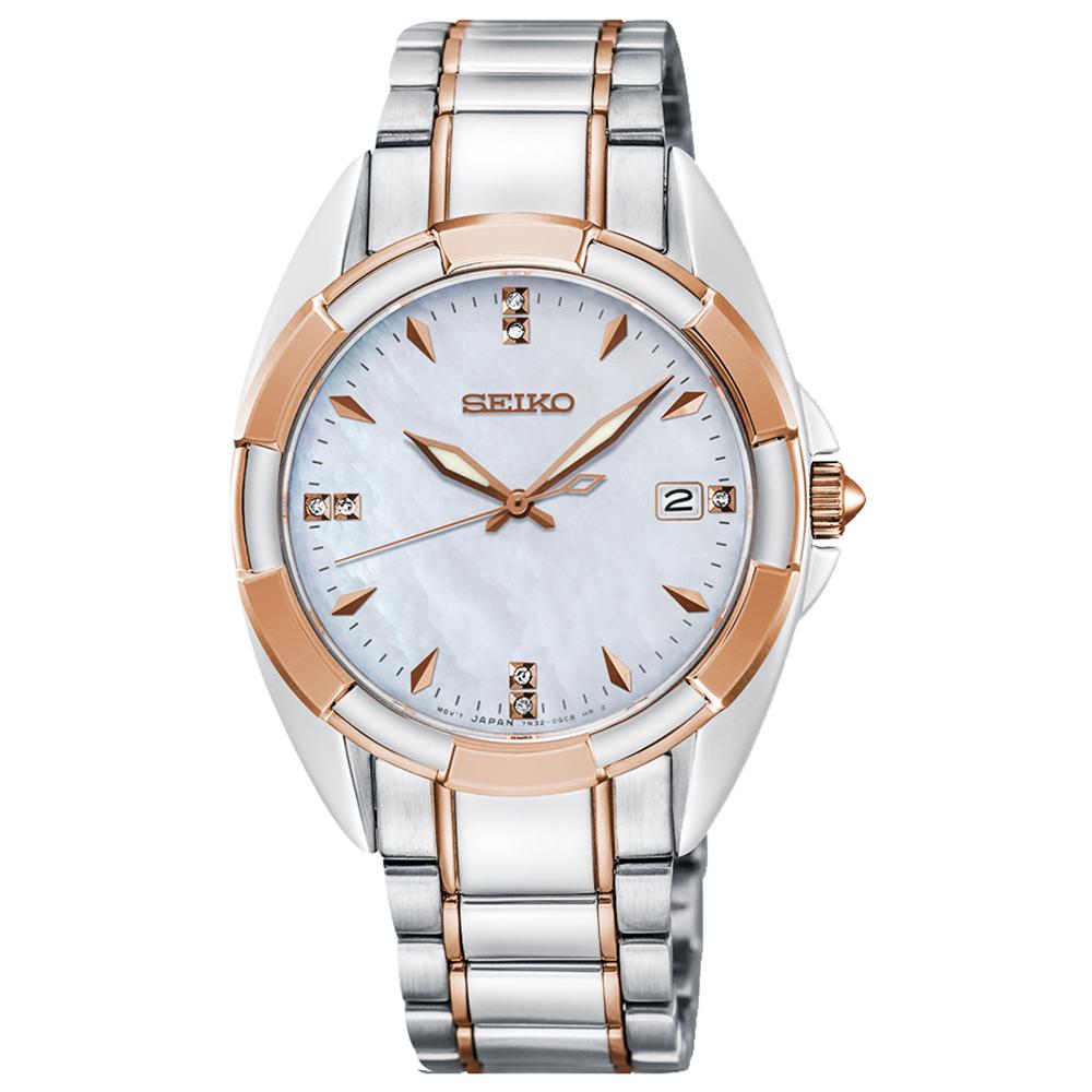 SEIKO精工 奢華晶鑽白蝶貝藍寶石夜光石英女錶(SKK888P1)-白x34mm
