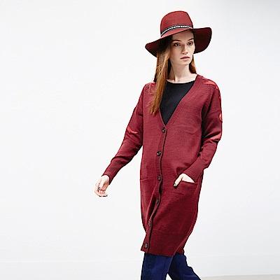 ICHE 衣哲 羊毛拼接皮格造型長版外套