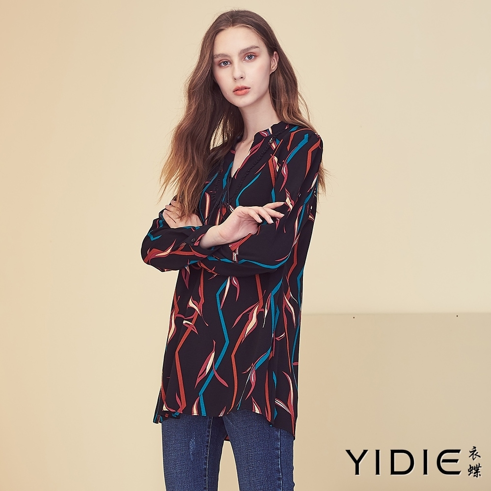 【YIDIE衣蝶】繽紛線條日系領結上衣