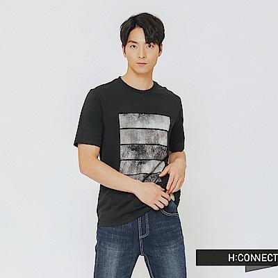 H:CONNECT 韓國品牌 男裝-風格圖像印刷上衣-黑