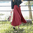 蝴蝶結鬆緊腰頭純色長裙-OB大尺碼