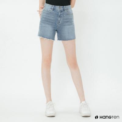 Hang Ten - 女裝 - 抽鬚牛仔高腰短褲 - 藍