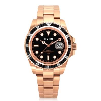 HYUN炫 男士鋯石設計精品錶-玫瑰金黑底黑鑽