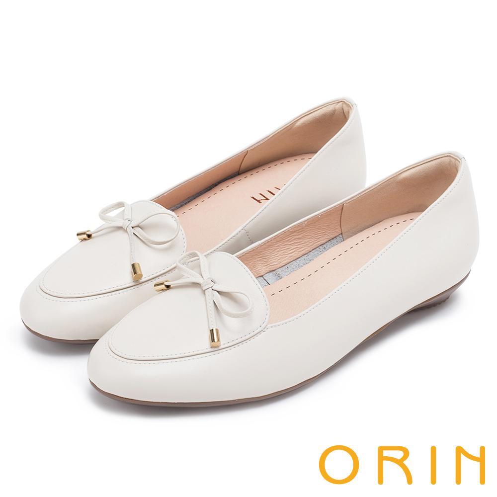 ORIN 高優質牛皮蝴蝶結 女 平底鞋 白色