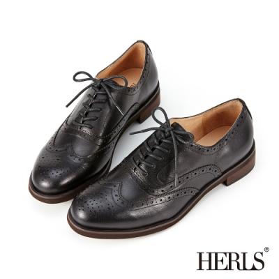 HERLS牛津鞋-全真皮雕花圓頭粗低跟紳士牛津鞋-黑色