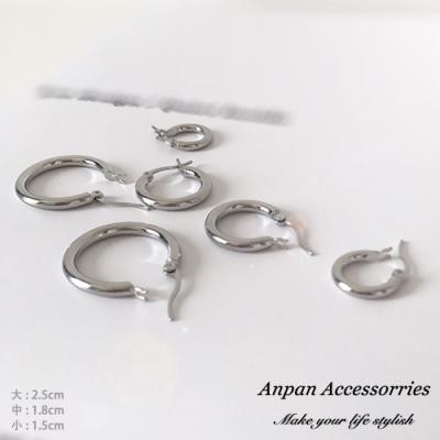 【全館6折】ANPAN愛扮日韓經典CLASSIC百搭圓圈耳釘式耳環-大中小