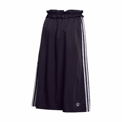 adidas 裙子 Ruffle Skirt 休閒 女款 愛迪達 三葉草 三線 花苞裙 流行 穿搭 黑 白 FU3807