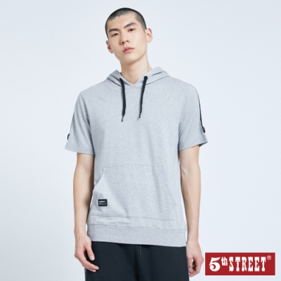 5th STREET 拍立得印圖 連帽短袖T恤-男-麻灰色