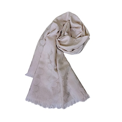 COACH 經典緹花字樣珠光羊毛流蘇披肩圍巾-珠光白