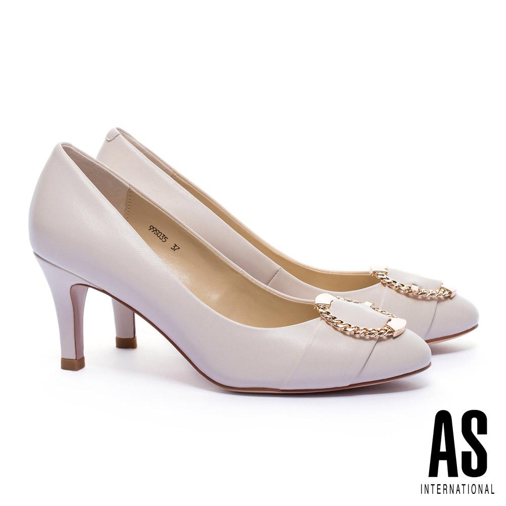 高跟鞋 AS 摩登金屬鍊型圓釦羊皮高跟鞋-米