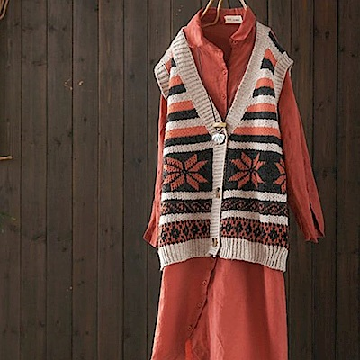 楓葉/寬鬆毛衣背心馬甲外穿針織開衫-設計所在