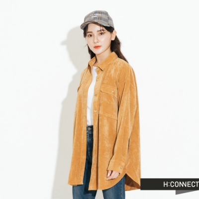 H:CONNECT 韓國品牌 女裝-雙口袋燈芯絨襯衫-棕