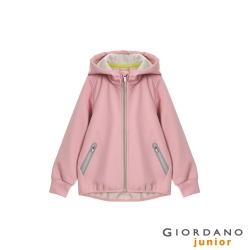 GIORDANO 童裝G-MOTION輕量撞色防風保暖連帽外套-26 薄紗粉紅