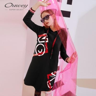 OUWEY歐薇 街頭風膠印刺繡長版洋裝(黑)