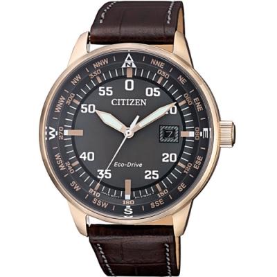 CITIZEN 星辰GENTS 時尚男錶質感光動能小牛皮腕錶(BM7393-16H)
