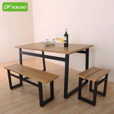 DFhouse英式工業風-餐桌+雙人餐椅+單人餐椅 130*80*75