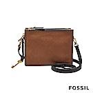 FOSSIL CAMPBELL多夾層真皮立體小方包-咖啡色