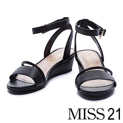 涼鞋 MISS 21 知性美感羊皮繫帶楔型涼鞋-黑