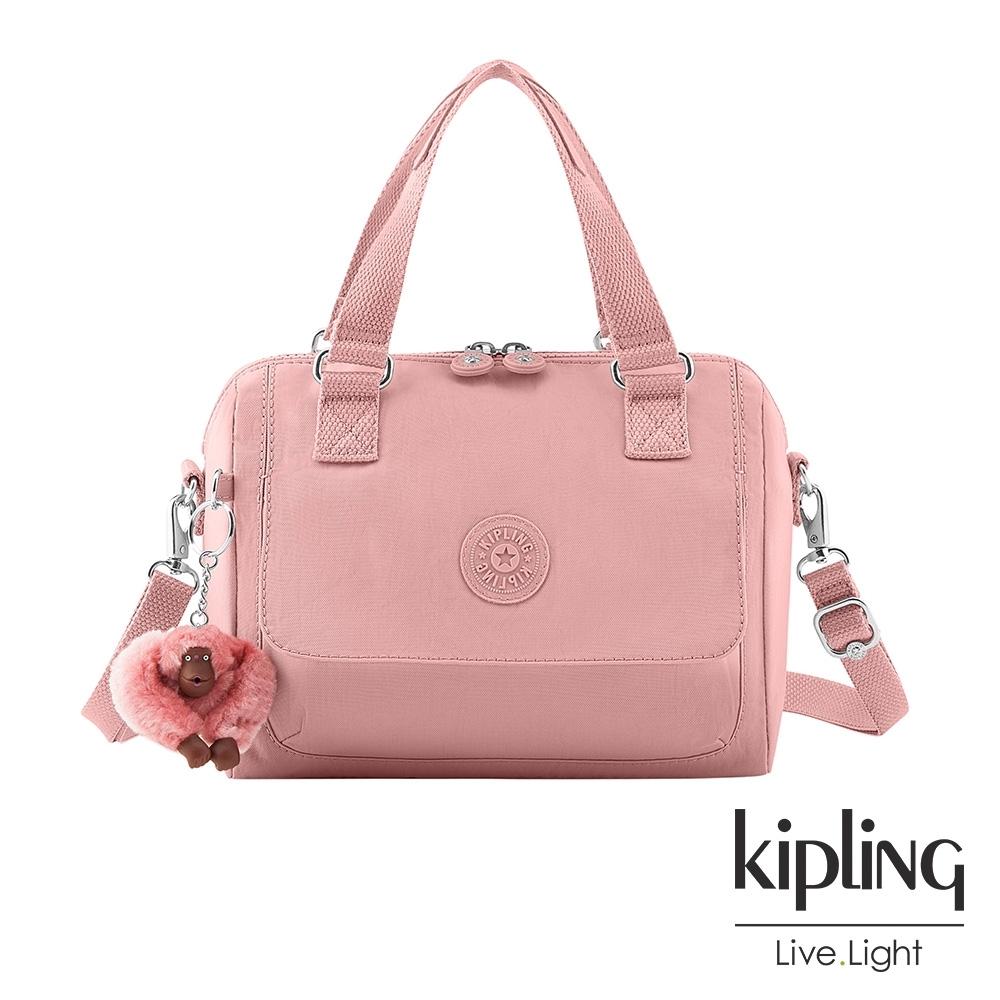 Kipling 玫瑰石英粉翻蓋手提側背包-ZEVA