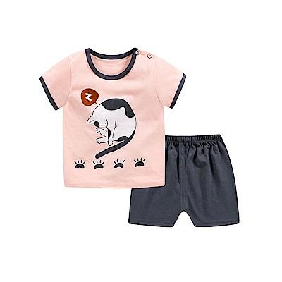 baby童衣 兒童套裝睡衣家居服卡通T恤短袖短褲2件套 88113