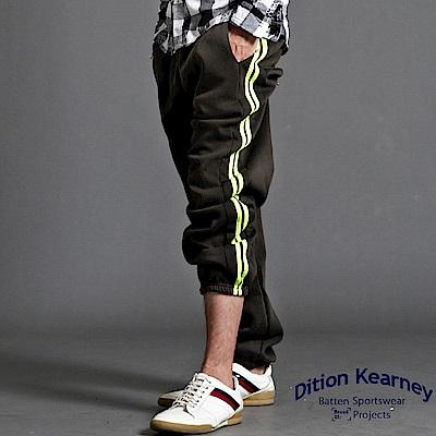 DITION 美式側邊螢光綠二線運動棉褲 寬鬆保暖刷毛