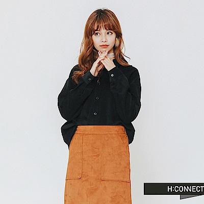 H:CONNECT 韓國品牌 女裝-質感絨面襯衫-藍