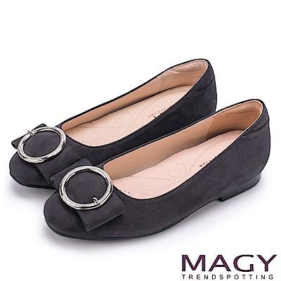 MAGY OL通勤專屬 造型圓釦平底娃娃鞋-灰色