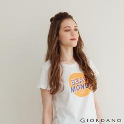 GIORDANO  女裝復古印花短袖T恤 - 51 皎白