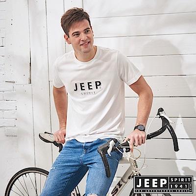 JEEP 極簡立體圖騰短袖TEE-白色