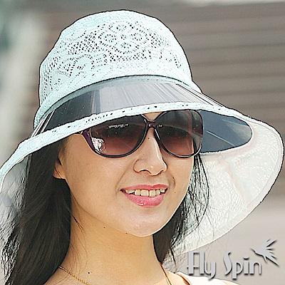 FLYSPIN 女款大眉檐抗紫外線UV時尚蕾絲遮陽帽