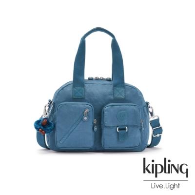 Kipling 優雅天穹藍多層實用手提側背包-DEFEA