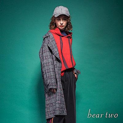 beartwo 復古大翻領格紋毛料西裝長版大衣(二色)