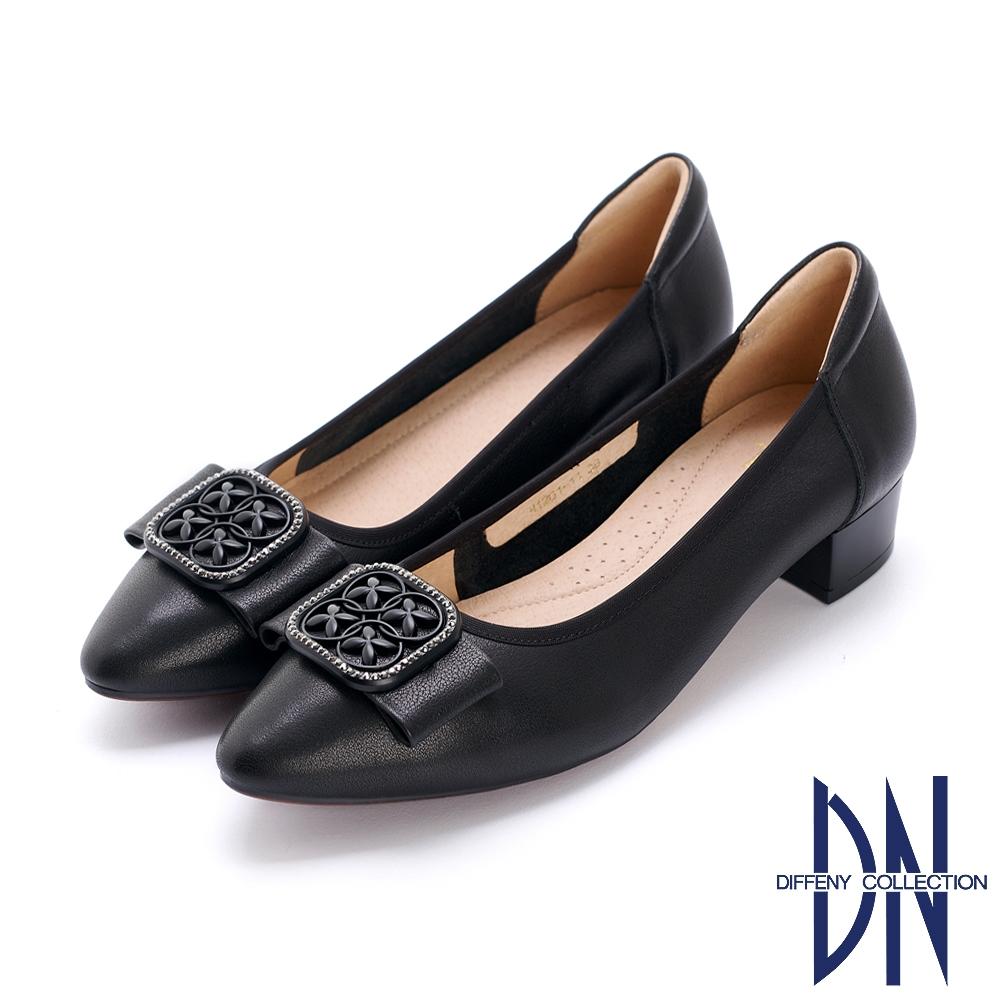DN跟鞋_氣質方釦蝴蝶結真皮微尖低跟鞋-黑