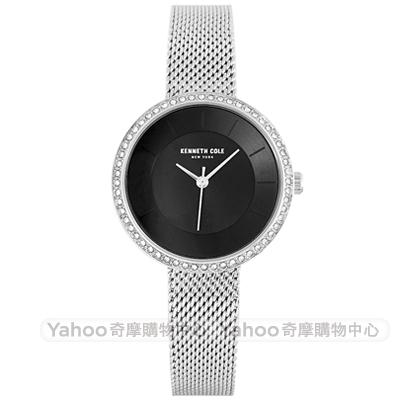 Kenneth Cole 璀璨晶鑽時尚米蘭帶手錶-黑X銀/32mm