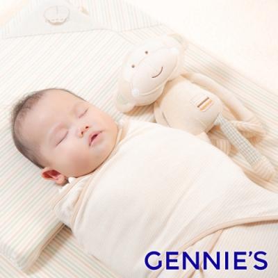Gennies奇妮-原棉寶寶包巾-陽光棕/亞麻綠(BE56)