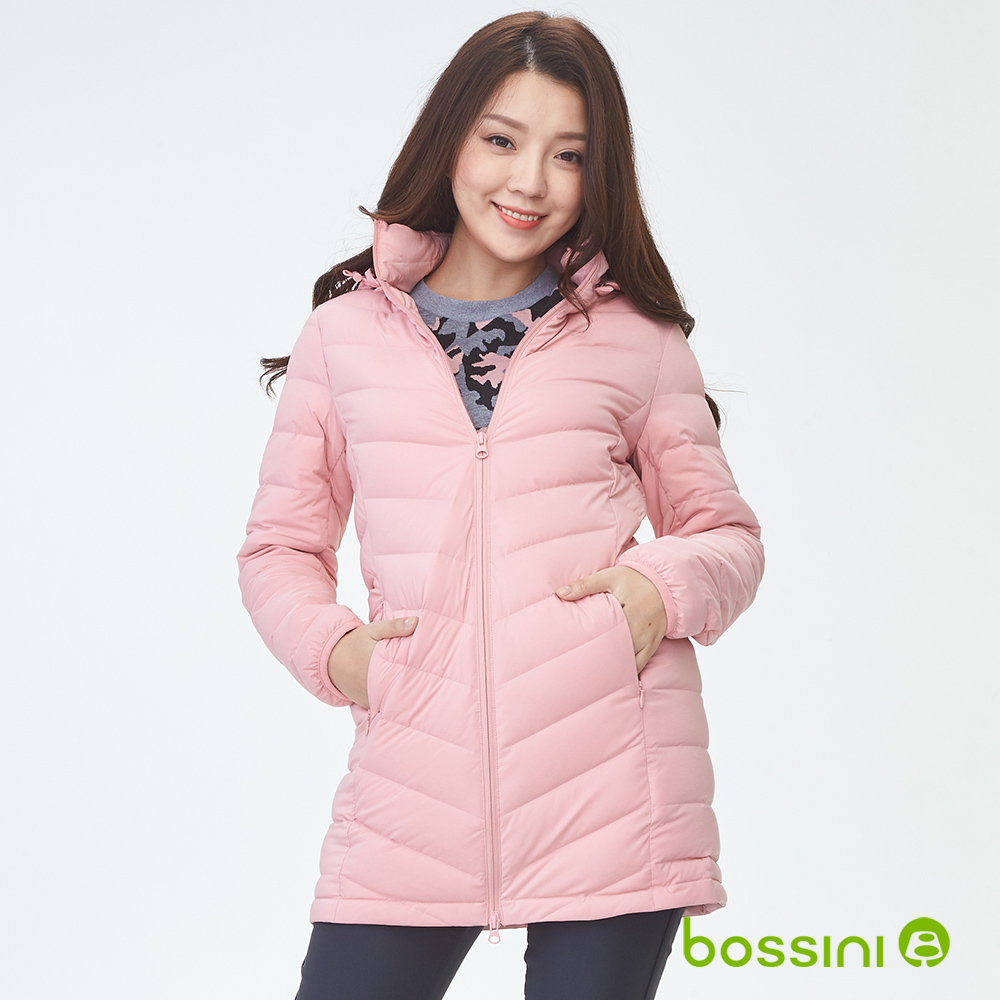 bossini女裝-連帽彈性無縫羽絨外套嫩粉