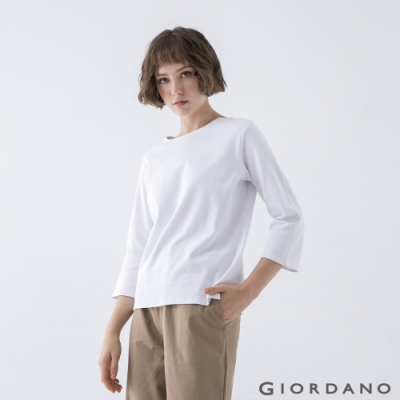 GIORDANO  女裝簡約厚磅七分袖T恤 - 99 標誌白