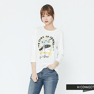 H:CONNECT 韓國品牌 女裝-度假風印花T-shirt-白 - 動態show