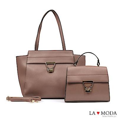 La Moda 簡約優雅大D釦大容量肩背手提子母包托特包(深杏)