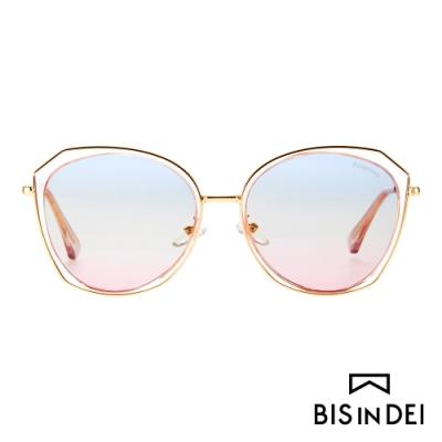 BIS IN DEI 側邊金屬多角框太陽眼鏡-粉