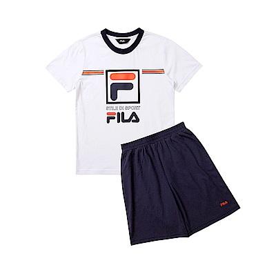 FILA KIDS 童短袖純棉針織套裝-白 1WTT-4908-WT