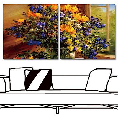 橙品油畫布 兩聯式方形 花卉藝術無框畫-黃藍色的相遇50x50cm